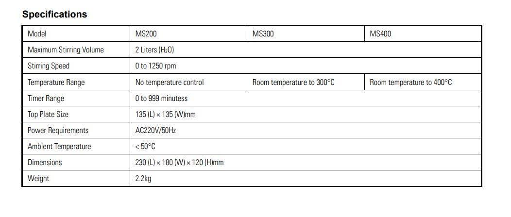 MS200 Magnetic Stirrer